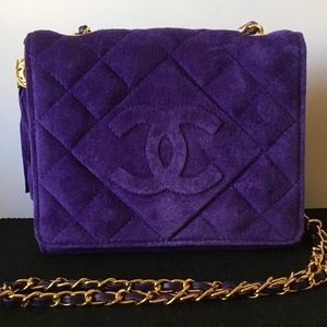 Vintage Chanel Purple Suede Quilted Full Flap Bag